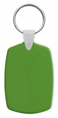 Правоъгълен, пластмасов ключодържател с метален пръстен, еластичен,  AP809331-07, зелен