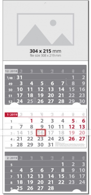 Calendar Werbekalender Универсал Класик СИВО / ЧЕРВЕНО 2019