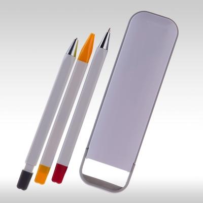 рекламни химикал, молив, маркер в пластмасова кутия