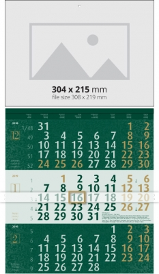 Calendar 3 monhts  Календар 3 тела Лукс - Зелен 2019  Werbekalender 3-monat